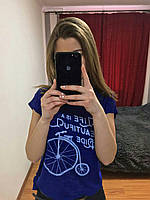 Женская Футболка, Турция 42-46рр, цвет серый Синий