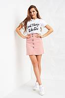 Женская юбка Медисон декорирована пуговицами, розовая