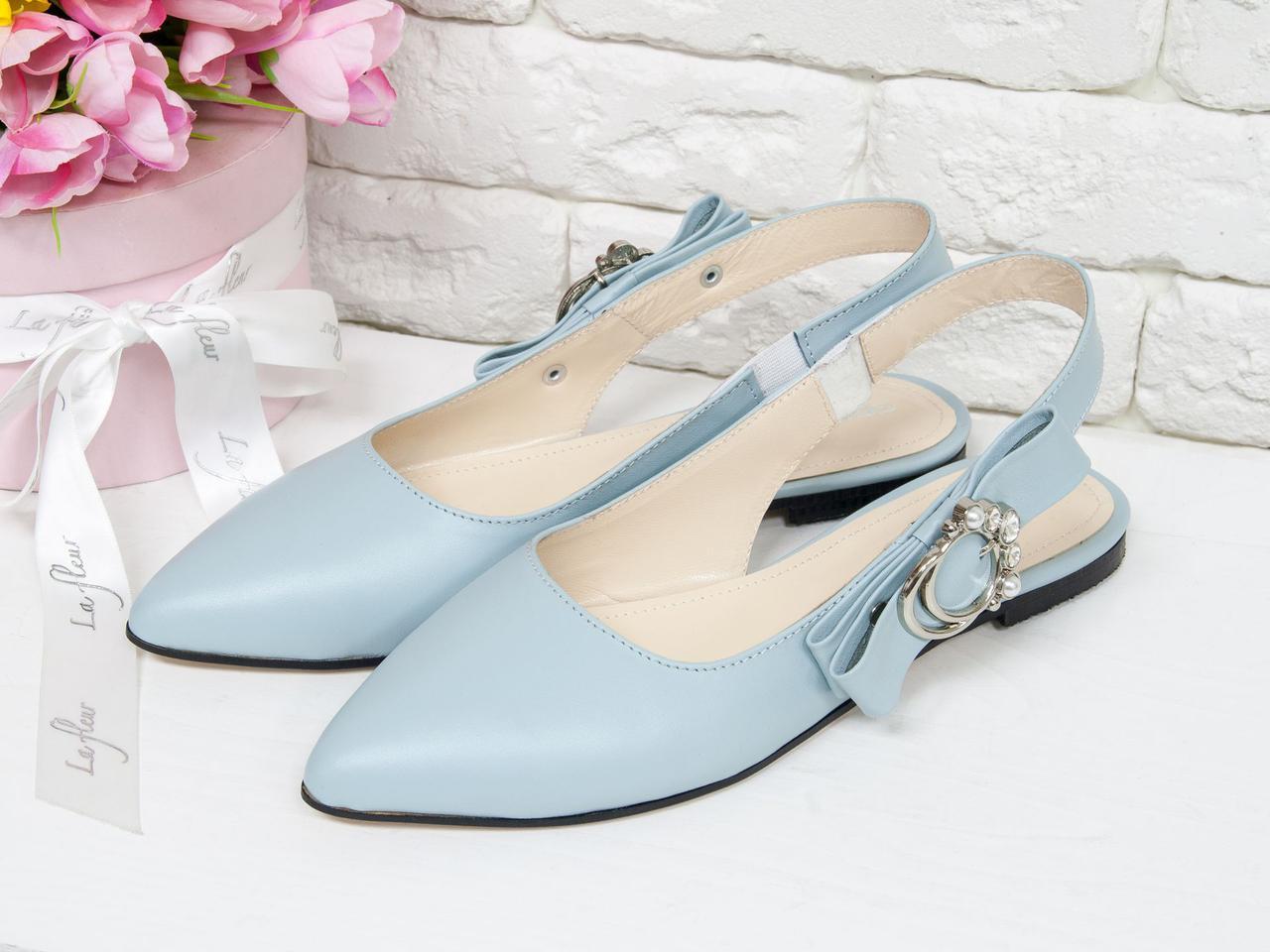 Туфлі жіночі з відкритою п'ятою, натуральна шкіра блакитного кольору. З 36 по 41 р.