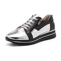 Кроссовки женские серебряного с чёрным цвета из натуральной кожи с шнурками и молнией, фото 1