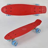 Скейт Пенни Борд (Penny Board) со светящими колесами. 22 дюйма. Красный