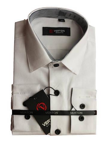 Рубашка для мальчика коттоновая белая приталенная длинный рукав Verton, фото 2