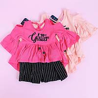 Футболка с открытыми плечами и шорты черн размер 98-104-110-116 см