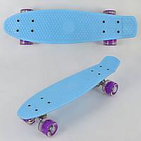 Скейт Пенни Борд (Penny Board) со светящими колесами. 22 дюйма. Бирюзовый