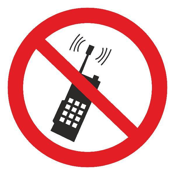 Знак Запрещается пользоватся мобильным телефоном d-150 мм с-к пленка