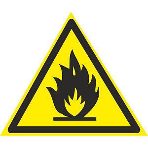 Знак: Осторожно ! Легковоспламеняющиеся вещества 150мм с-к пленка, Евросервис (000018934)