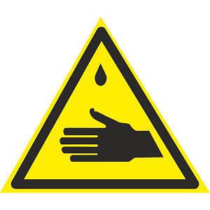 Знак: Осторожно ! Едкие вещества 150мм с-к пленка, Евросервис (000018937)