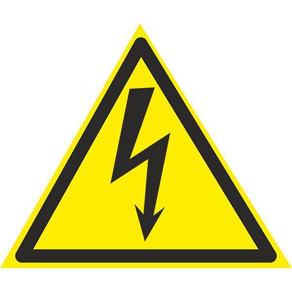 Знак Осторожно ! Электрическое напряжение 150мм с-к пленка