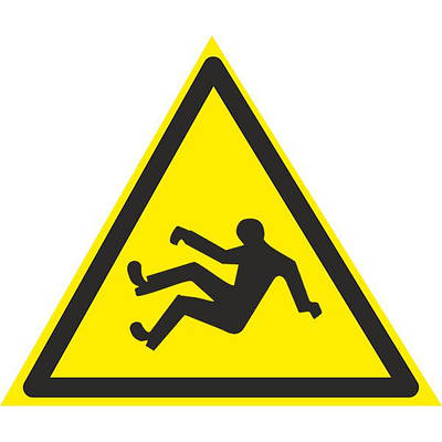 Знак: Осторожно ! Возможно падение 150мм с-к пленка, Евросервис (000018942)