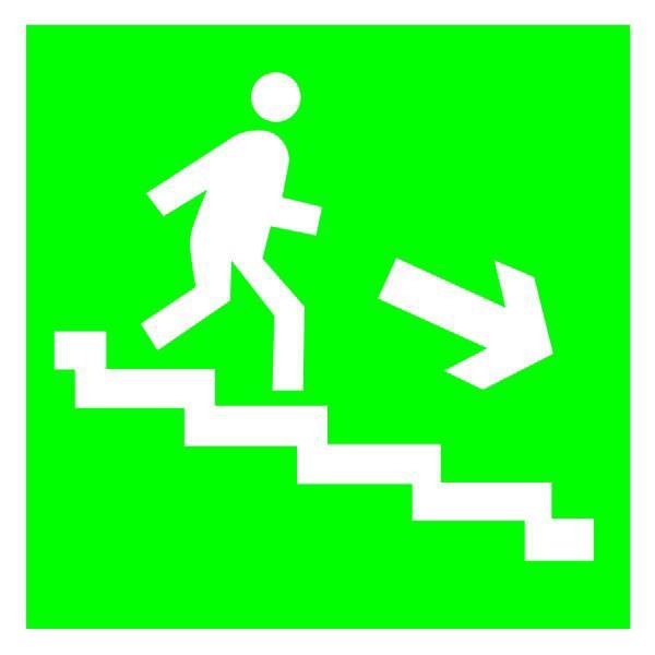 Указатель Направление эвакуации по лестнице вниз 150х150 с-к пленка