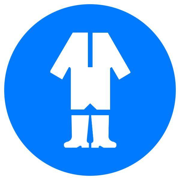 Знак Працювати в захисному одязі! d-150 пластик ПВХ