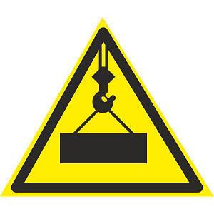Знак Осторожно ! Работает кран 150мм пластик ПВХ