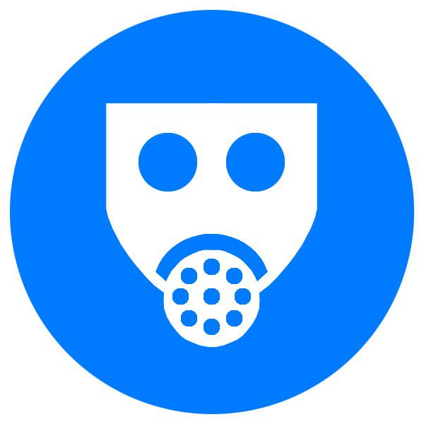Знак Працювати із застосуванням засобів захисту органів дихання d-250 пластик ПВХ