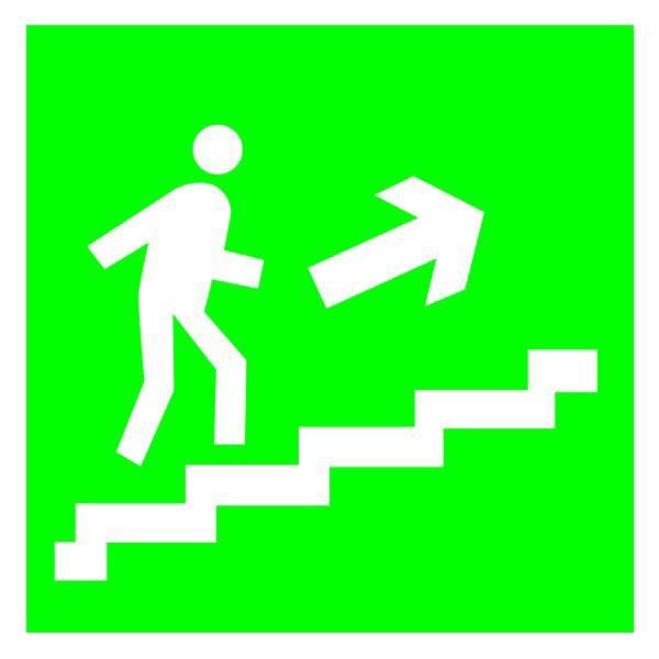 Указатель Направление эвакуации по лестнице вверх 300х150 пластик ПВХ