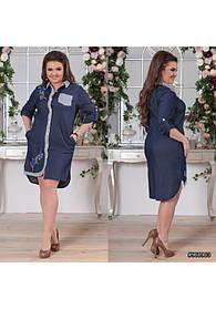 Платье рубашка летнее из тонкого джинса с аппликацией 48-52
