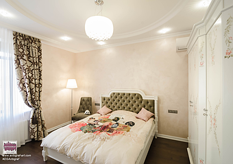 Modern house in Kyiv. Bedroom for girl. Walls color - Playful Pink, wood floor contrast - Adirondack Brown.