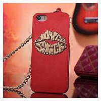 Чехол Губы Поцелуй для IPhone 5/5S Красный с золотыми губами