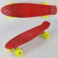 Скейт Пенни Борд (Penny Board) матовые колеса. 22 дюйма. Красный, фото 1
