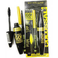 Набор MAYBELLINE Volume Express 2 в 1: тушь для ресниц Colossal Go Extreme Leather Black + карандаш