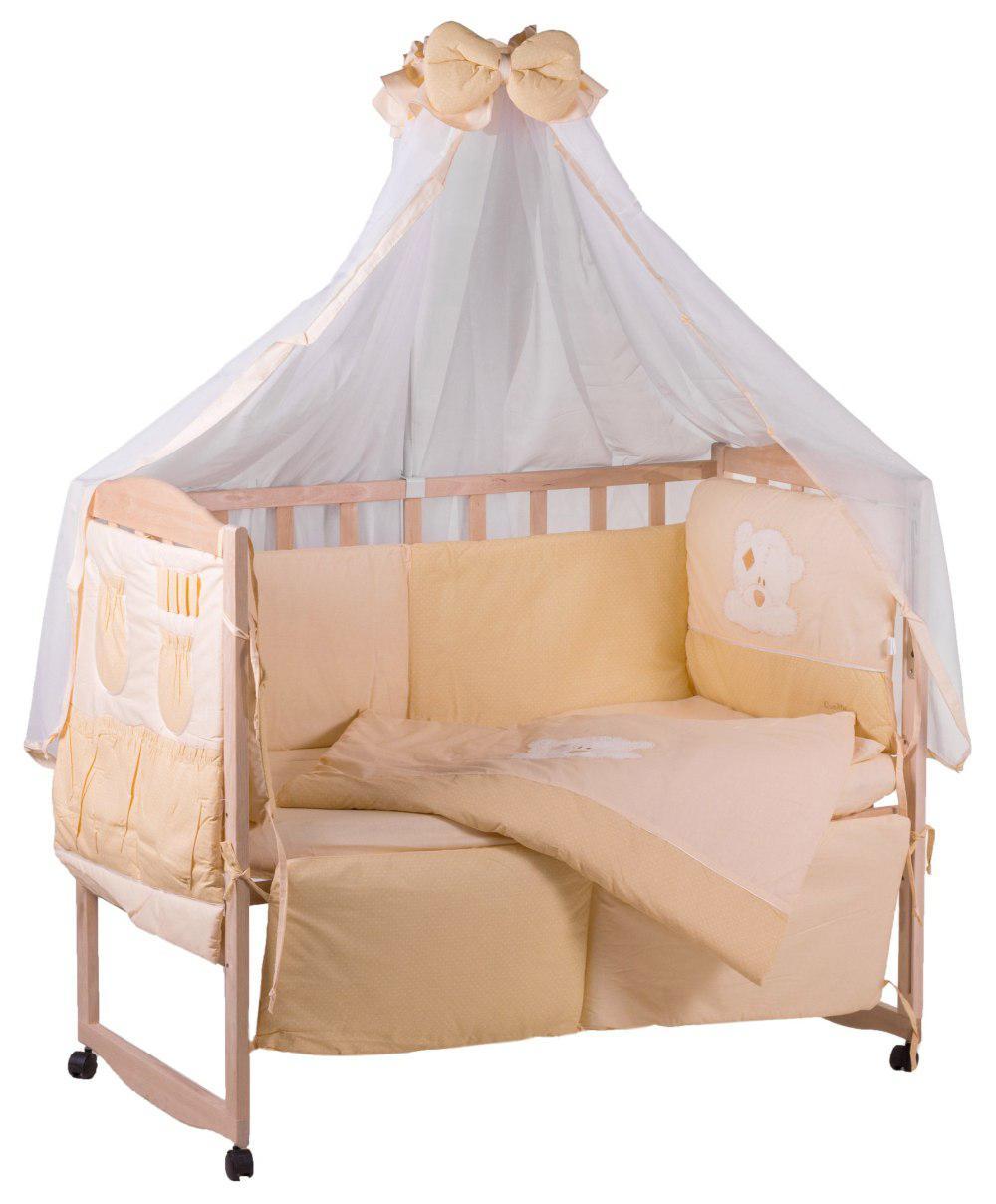 Детская постель Qvatro с аппликацией (8 элем.,со змейками на защите).  бежевый (мишка мордочка штопанная)