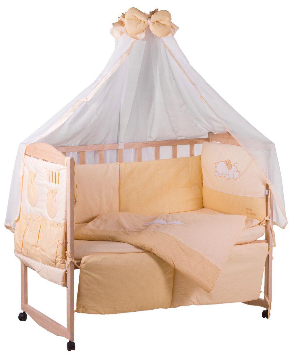 Детская постель Qvatro с аппликацией (8 элем.,со змейками на защите).  бежевый (кот спит)