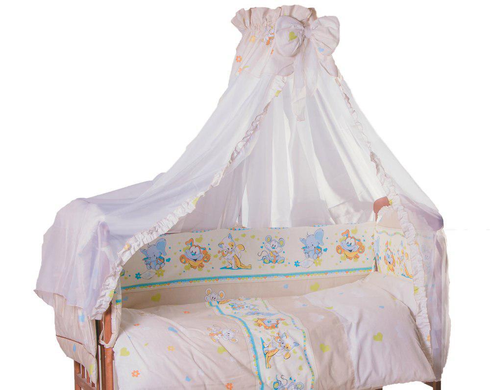 Детская постель Qvatro Lux  RL-08  бежевая (мышки с сыром,слон,кот,собачки)