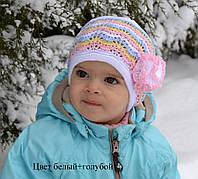 №130 Акция! Ажурная весенняя шапка Одуванчик.р.46-48 (1 - 2 года)Белый+серый, молоко+желтый,розовый, бел+голуб, фото 1