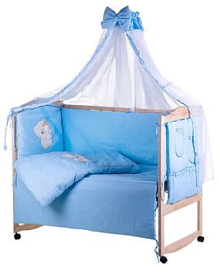 Детская постель Qvatro Ellite AE-08 апликация Голубой (мишка сидит с бутылочкой)