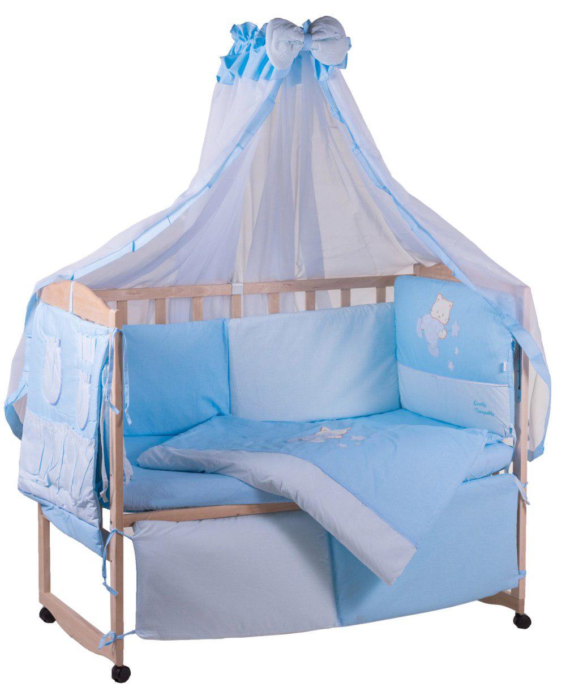 Детская постель Qvatro с аппликацией (8 элем.,со змейками на защите).  голубой (котик с палочкой)