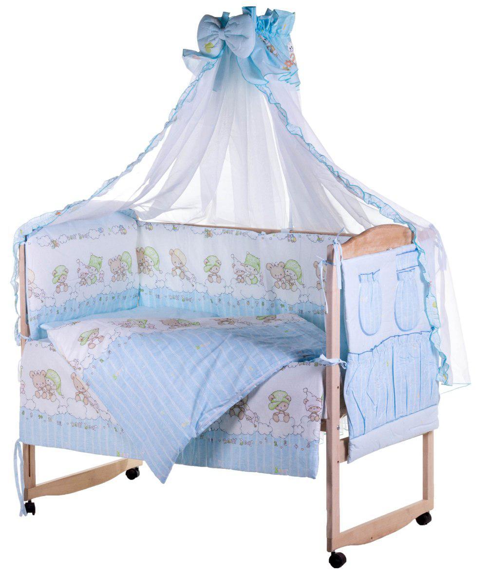 Детская постель Qvatro Lux  RL-08  голубая (мишки на облаках)