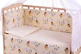 Защита в кроватку Qvatro Gold ZG-02  бежевый (винни-пух с шариками)
