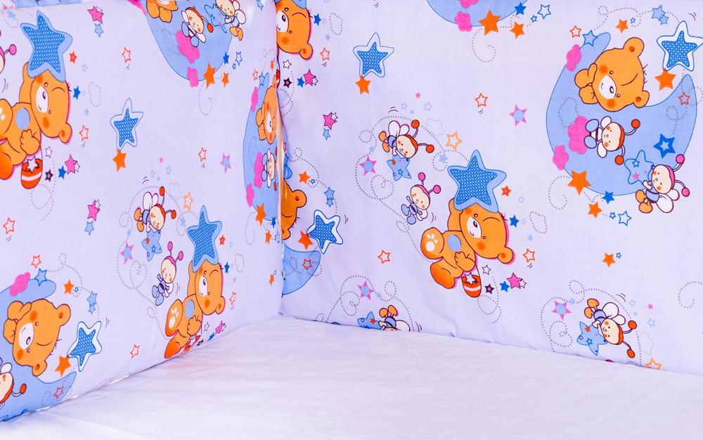 Захист у ліжечко Qvatro Gold ZG-02 блакитний (ведмедик, дві бджілки, зірки)