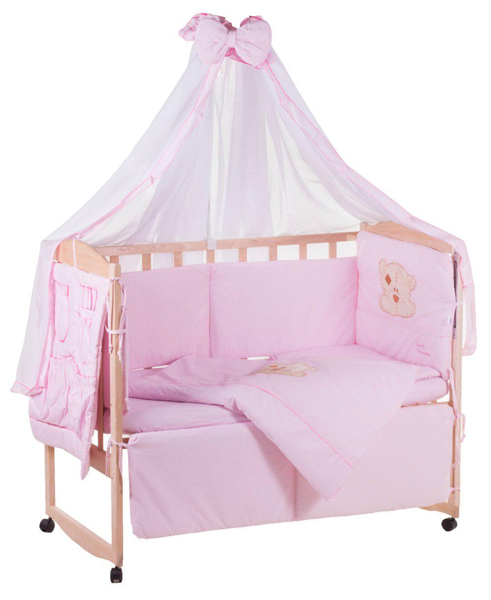 Детская постель Qvatro с аппликацией (8 элем.,со змейками на защите).  розовый (мишка мордочка штопанная капучино)