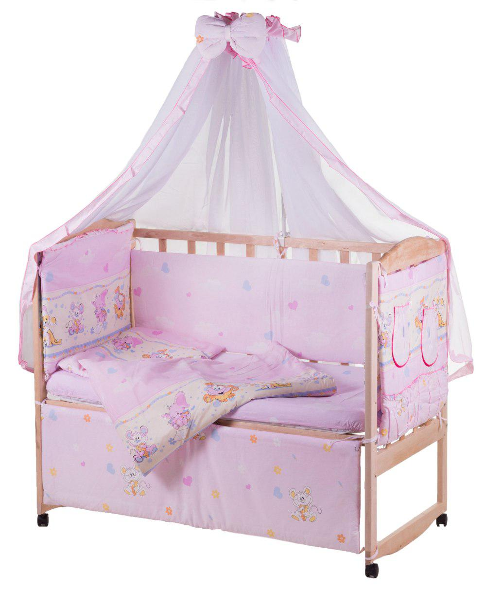 Детская постель Qvatro Lux  RL-08  розовая (мышки с сыром,слон,кот,собачки)