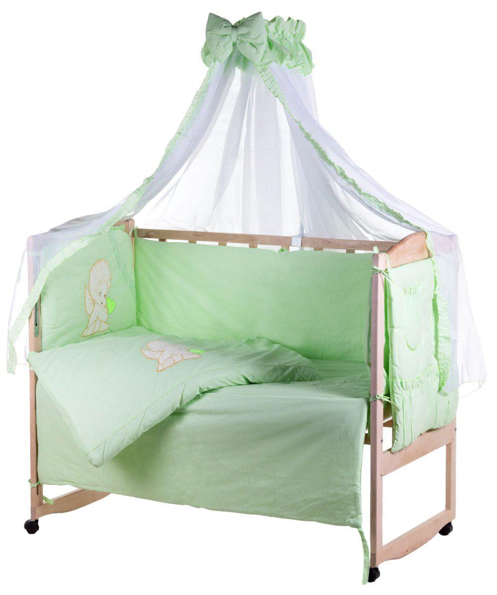 Детская постель Qvatro Ellite AE-08 аппликация  салатовый (ангелочек с салатовым сердцем)