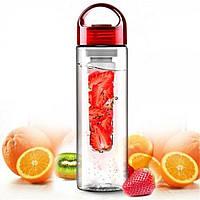 Бутылка для воды и напитков SUNROZ Fruit Bottle с контейнером для фруктов 800 мл Красная (SUN0094)