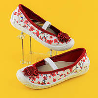 Польские тапочки на девочку с красным бантом текстильная обувь тм 3 F р.26