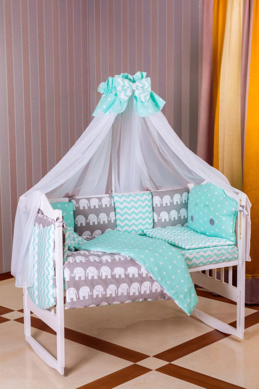 Детская постель Babyroom Bortiki lux-08 elephant бирюзовый - серый