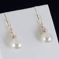 Чудесные серьги с кристаллами и жемчугом Swarovski, покрытые золотом 0572