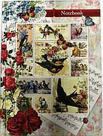 """Блокнот  """"Birds Stamps"""" А-5  в клетку, твёрдый переплёт, 120 листов"""