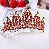 Корона і сережки РОЗАЛІЯ діадема з червоними каменями і довгі сережки біжутерія, фото 5