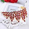 Корона і сережки РОЗАЛІЯ діадема з червоними каменями і довгі сережки біжутерія, фото 7