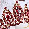Корона і сережки РОЗАЛІЯ діадема з червоними каменями і довгі сережки біжутерія, фото 8