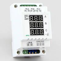 Цифровой амперметр переменного тока 3-х фазный на DIN-рейку (300А) АМ-300/D1-3, фото 1