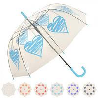 Зонт полуавтомат трость прозрачный 60 см ( складной зонт )