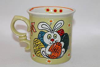 """Чашка керамическая цветная """"Пасхальный зайчик с яйцами"""""""