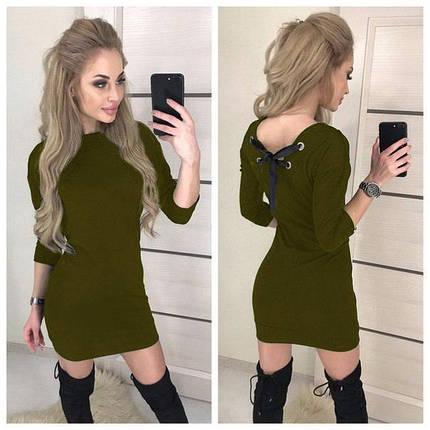 """Модное женское платье облегающее с вырезом на спине, рукав 3/4 """"Leylaa"""" хаки, фото 2"""