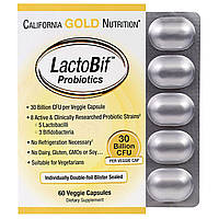 California Gold Nutrition, Пробиотики LactoBif, 30 млрд КОЕ, 60 овощных капсул