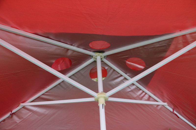 Квадратний парасолька для відпочинку або торгівлі з срібним напиленням і вітровим клапаном, розмір 200 Х 300 див.