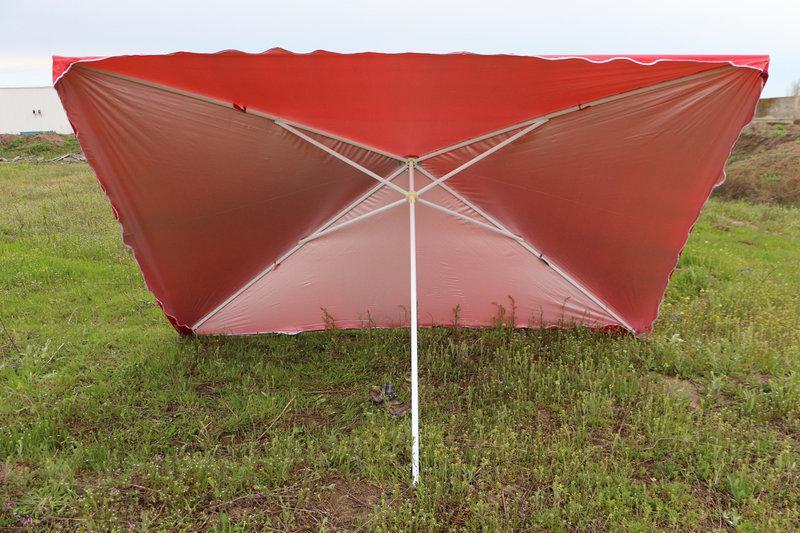 Квадратный зонт для отдыха или торговли с серебряным напылением, размер 300 Х 400 см.